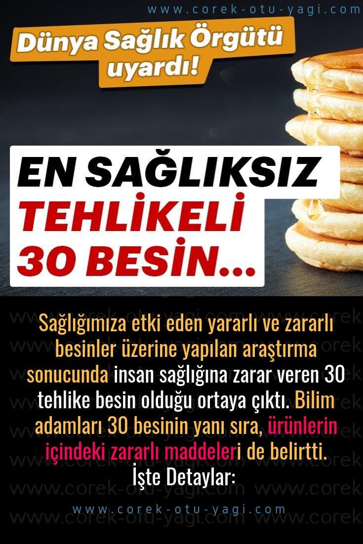 İnsan sağlığına zarar veren 30 besin açıklandı! | www.corek-otu-yagi.com